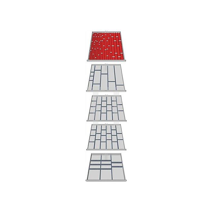 Schubladen-Unterteilung 133-teilig f. 5 Schubladen f. Schrank H1019xB1005xT736mm