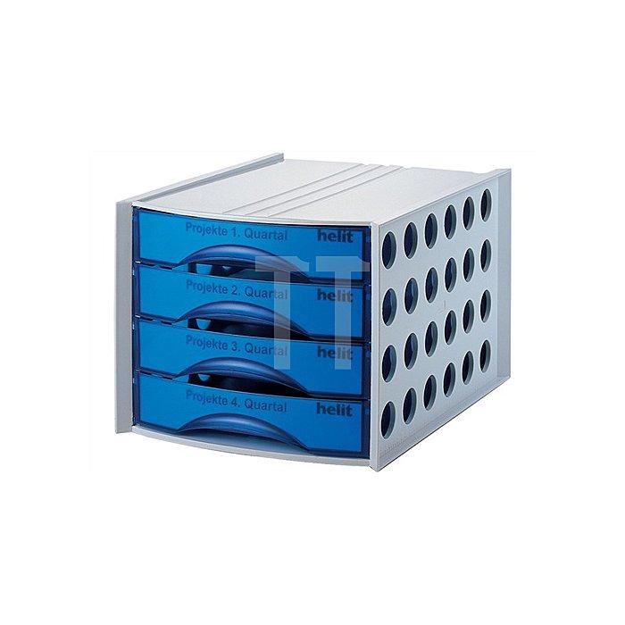 Schubladenbox 4Schubl. lichtgrau Schubl.blau-transluzent H234xB289xT390mm