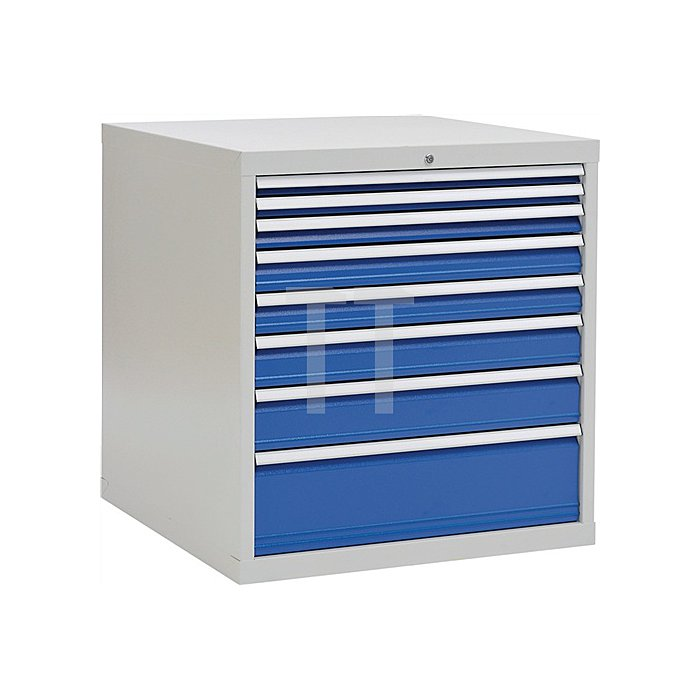 Schubladenschrank H1019xB1005xT736 grau/blau 2x50 1x75 2x100 1x125 1x150 1x250