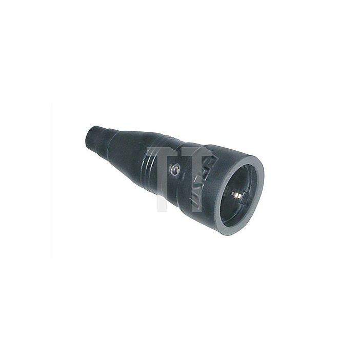Schuko-Kupplung a.Gummi IP20 schwarz 250V/10-16A 2polig m.Knickschutz