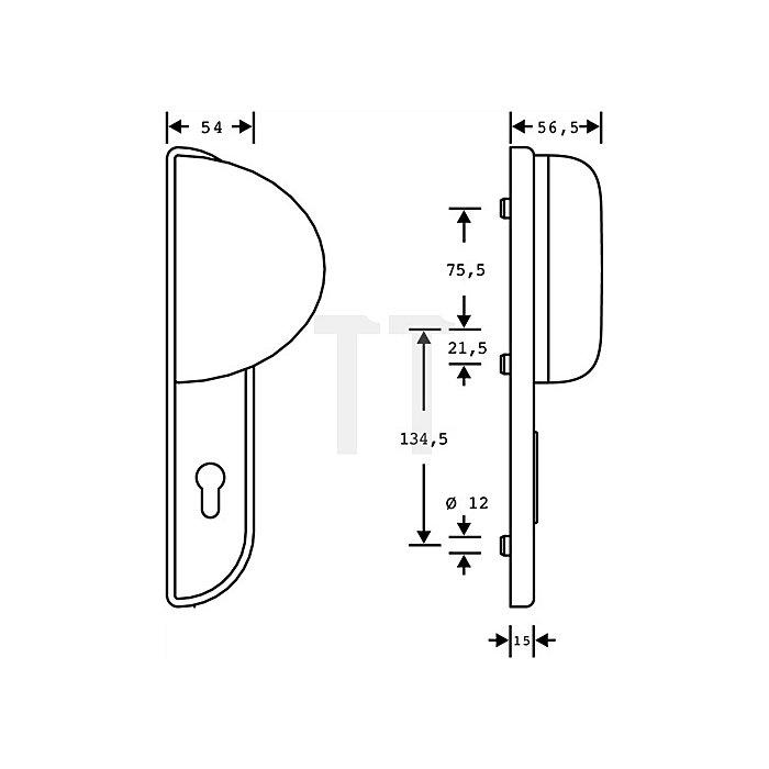 Schutzbeschlag Schutz-Kl.2 DIN li.Entfernung 72mm Alu.F1 naturfarbig f.Zimemrtür