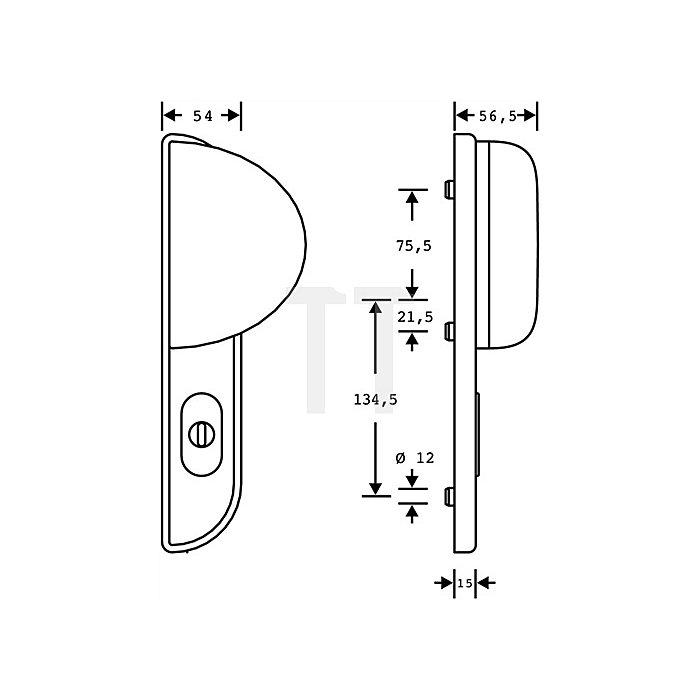 Schutzbeschlag Schutz-Kl.2 DIN li.Entfernung 92mm Alu.F1 naturfarbig f.Haustüren