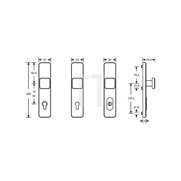 Schutzbeschlag Schutz-Kl.2 Entfernung 72mm VA fein matt f.Zimmertüren