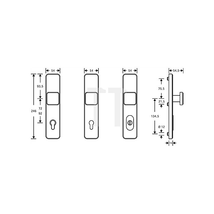Schutzbeschlag Schutz-Kl.2 Entfernung 92mm Alu.F1 naturfarbig f.Haustüren