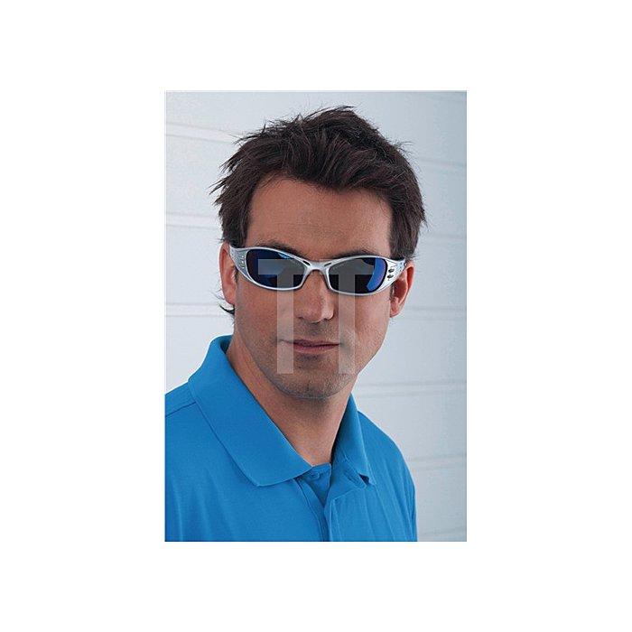 Schutzbrille Fuel Bügel platin/PC blau verspiegelt UV EN 166 belüftet 3M