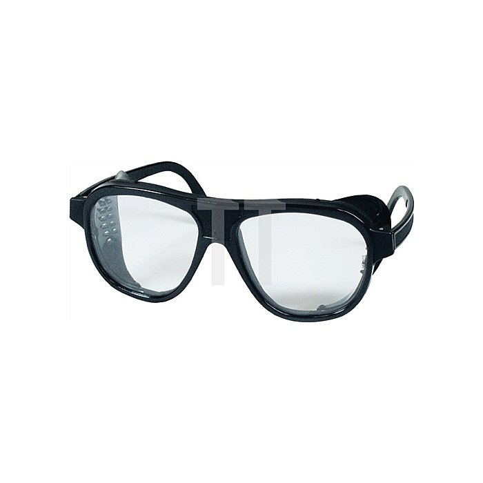 Schutzbrille klar Nylon schw. m. Seitenblenden Glasgröße 62x52mm EN166