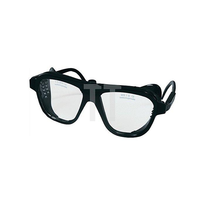 Schutzbrille klar Verbundglas splitterfrei schw. Glasgröße 62x52mm EN1836/EN166