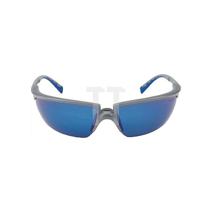Schutzbrille Solus Bügel silber/blau, PC blau verspiegelt verzerrfrei EN166 3M