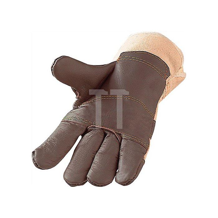 Schutzhandschuhe dunkel Gr.10 1/2 Standard Möbelleder Handrücken a.weissem Canvas