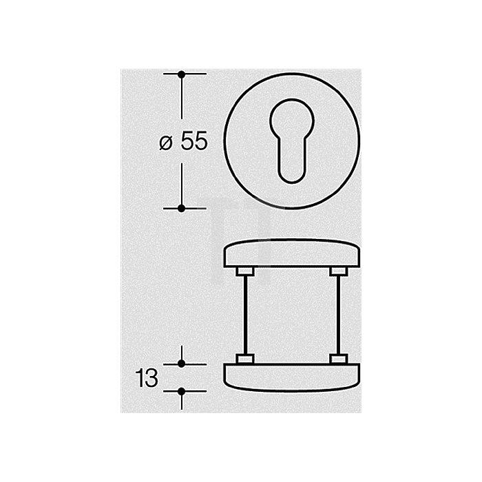 Schutzrosette 306.23 ES Durchmesser 55/55mm Türstärke 38-43mm weiss