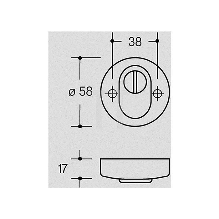 Schutzrosette 306.23 ESZ Durchmesser 58/55mm Türstärke 40-48mm tiefschwarz