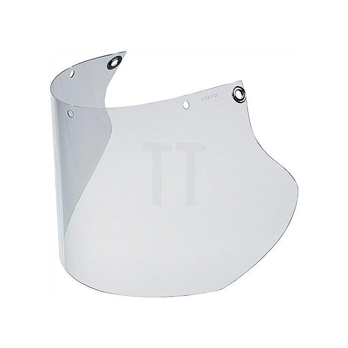 Schutzscheibe aus PC klar Abm. 480x200x1mm zur Befestigung an KGS-Helmhalterung