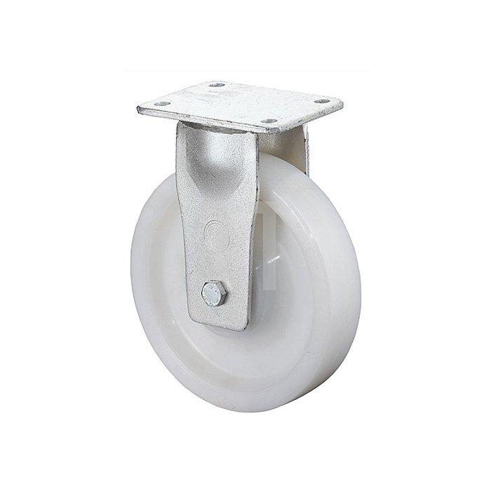 Schwerlast-Bockrolle RB100 D.150mm Trgf.800kg Ku.-Rad naturf.Platte 138x110mm