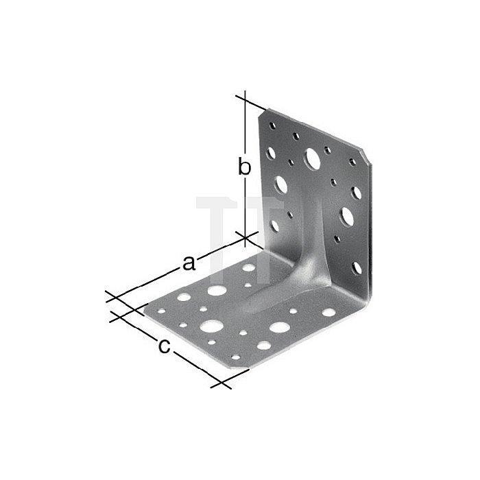 Schwerlast-Winkelverbinder 70x70x55x2,5mm sendzimirverzinkt mit Sicke