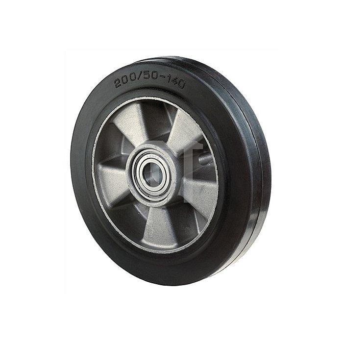 Schwerlastlenkrolle D.160mm Trgf.300kg Elastic-Vollgummirad Platte 135x110mm