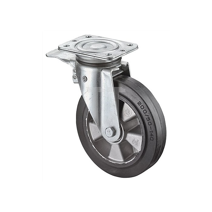 Schwerlastlenkrolle m.Feststeller D.250mm Trgf.550kg Elastic-Vollgummi-Rad