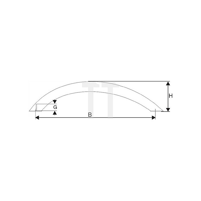 Segmentbogengriff, 288x34x10mm, Edelstahl