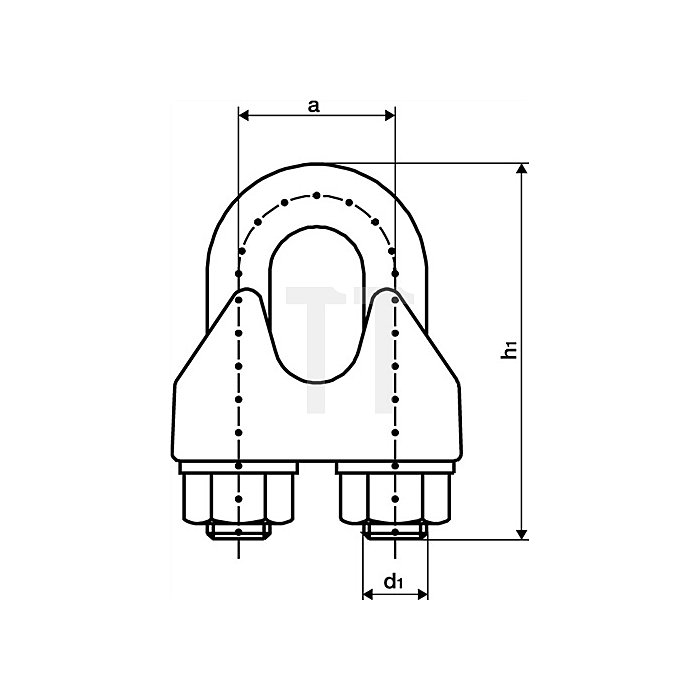 Sicherh.-Drahtseilklemme Gewinde M8 Nenn-Gr./Seil 10mm DIN1142