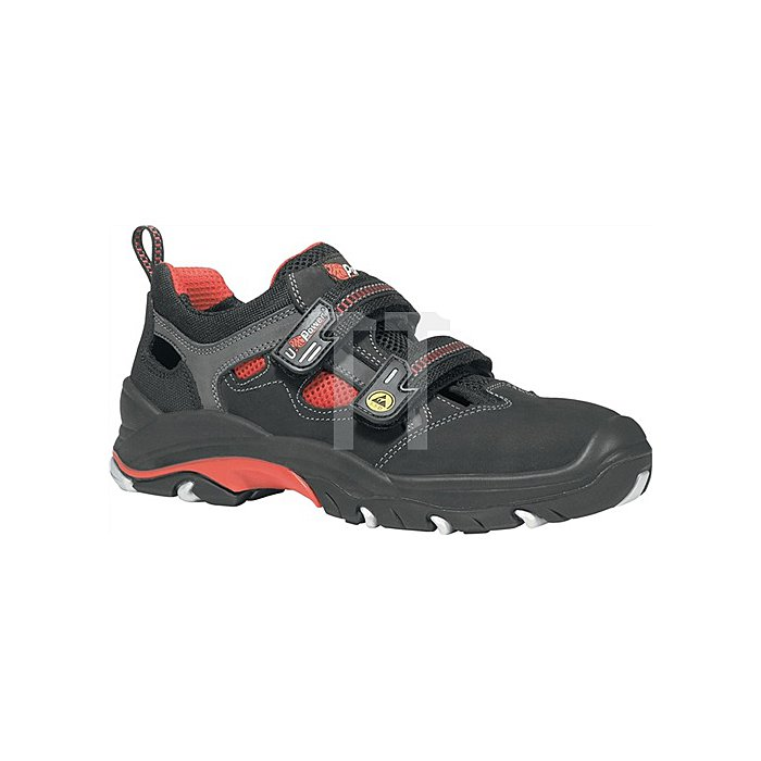 Sicherheits-Sandale EN ISO 20345 ESD S1P SRC Cult Gr. 45 Nubukleder schwarz/rot
