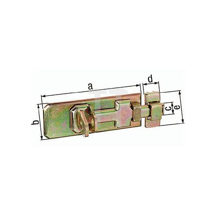 Sicherheits-Schlossriegel 120x45x17x22x50mm Stahl roh galv. gelb verz.