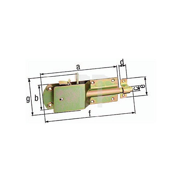 Sicherheits-Stallriegel 200x70xØ15x20x57x250mm Stahl roh galv. gelb verz.