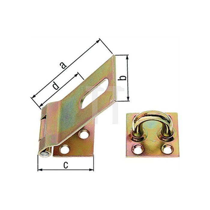 Sicherheits-Überfalle 80x37x35mm Stahl roh galv. gelb verz. GAH