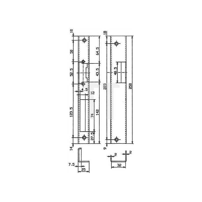 Sicherheits-Winkelschließblech 250x25x36x2mm stark / rechts Edelstahl