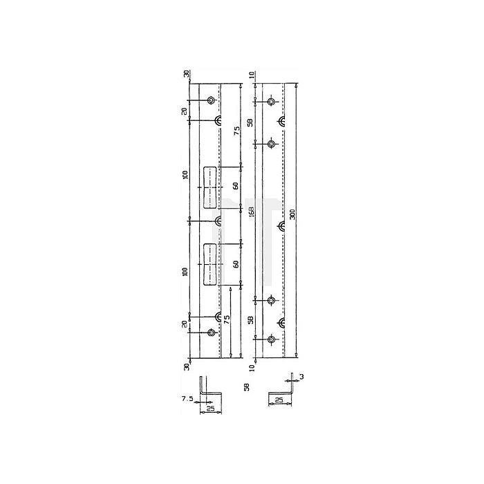 Sicherheits-Winkelschließblech 280x20x3mm stark Stahl hell verz. limbafarbig