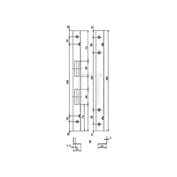 Sicherheits-Winkelschließblech 300x25x25x3mm stark Stahl verz.