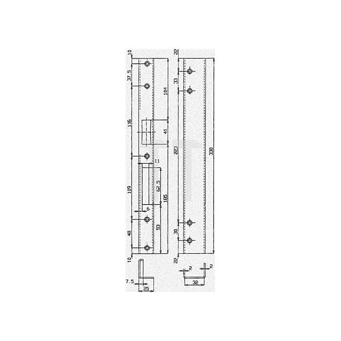 Sicherheits-Winkelschließblech 330x25x36x2mm stark / rechts Edelstahl