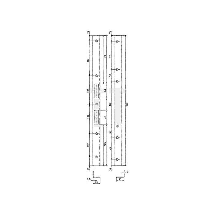 Sicherheits-Winkelschließblech 500x25x25x3mm stark Stahl hell verz. limbafarbig
