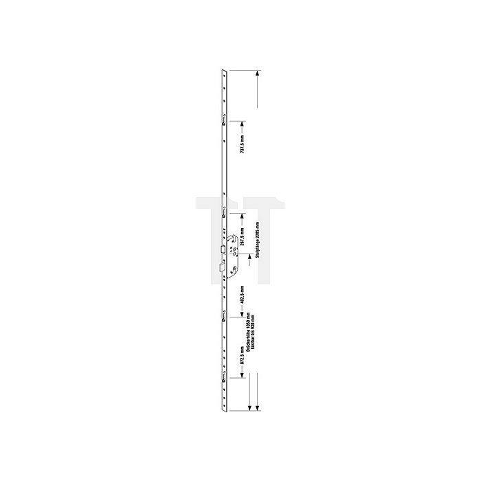 Sicherheitstürverschl.Secury R4 Dorn 80mm Enf.92mm Stulp-B.20mm flach PZ gel.