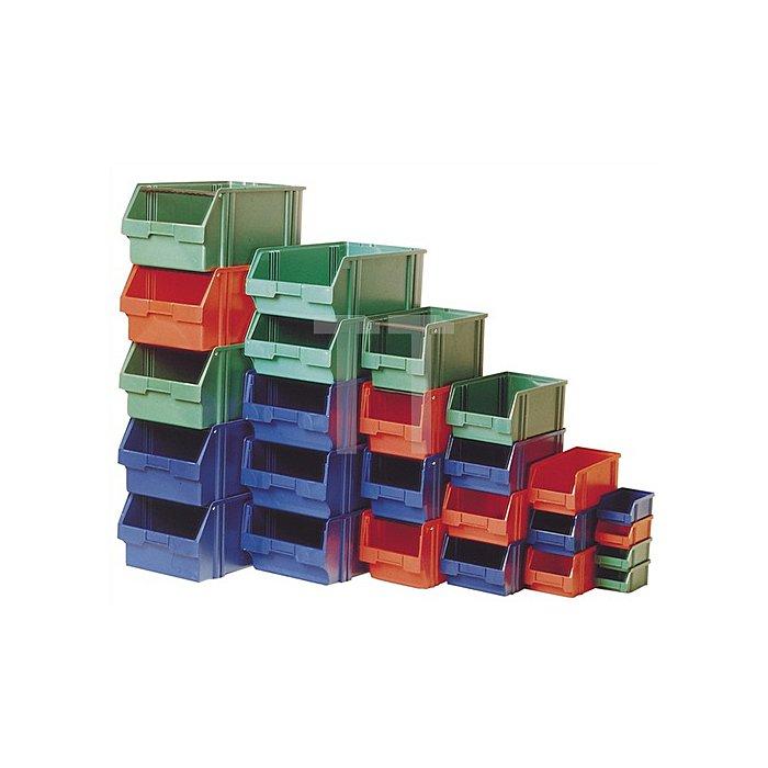 Sichtlagerkasten Gr.2 grün L.350/300xB.200xH.150mm a.PS stapelbar