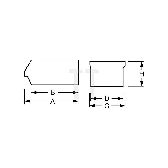 Sichtlagerkasten Gr.2 rot L.165/135xB.105xH.75mm PP stapelbar