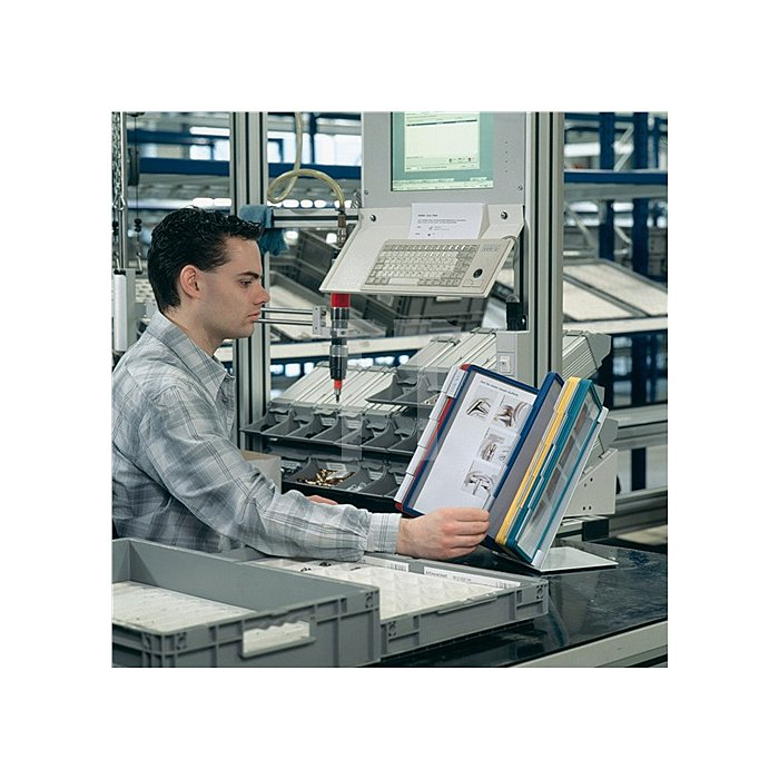 Sichttafeltischständer m.10Sichttafeln m.Profilrahmen DINA4 Stahlblech