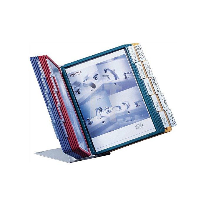 Sichttafeltischständer m.20Sichttafeln m.Profilrahmen DINA4 Stahlblech