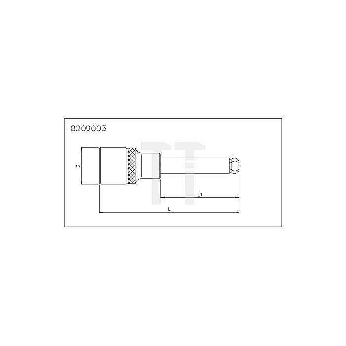 Sonic 1/2' Innensechskant Biteinsatz mit Kugel, 140mm, 7mm