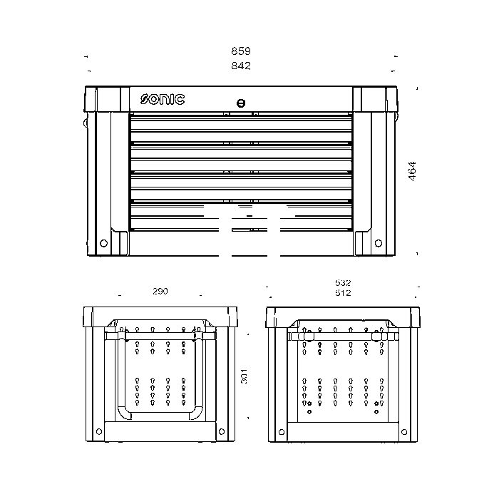 Sonic Aufsatzbox leer, S9, 4 Laden, dunkelgrau (RAL7011)