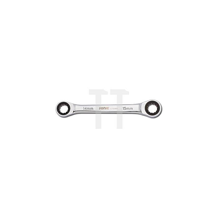 Sonic Doppelring-Ratschenschlüssel 12-kant 17x19mm