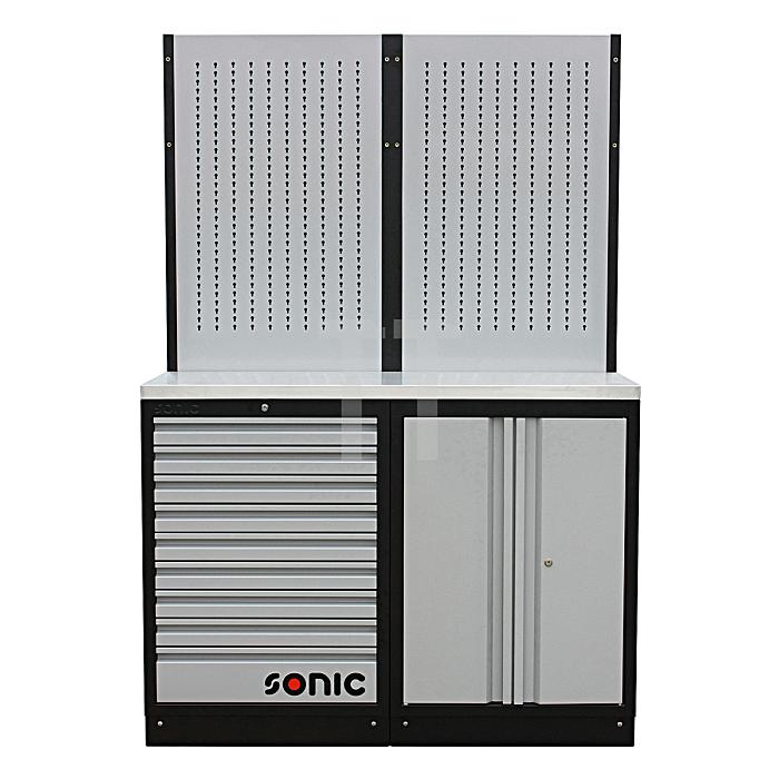 Sonic MSS 26' 9 Schubladen, Wandschrank, Lochwand (Edelstahl)