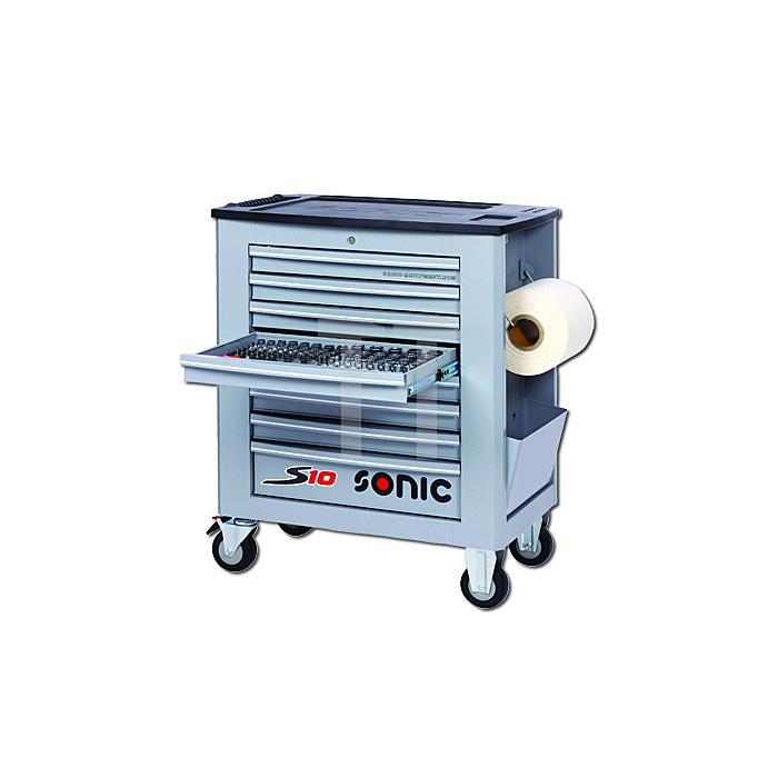 Sonic Werkstattwagen S10 gefüllt, 295-teilig, grau