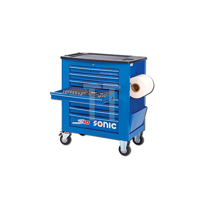 Sonic Werkstattwagen S10 gefüllt, 328-teilig, blau