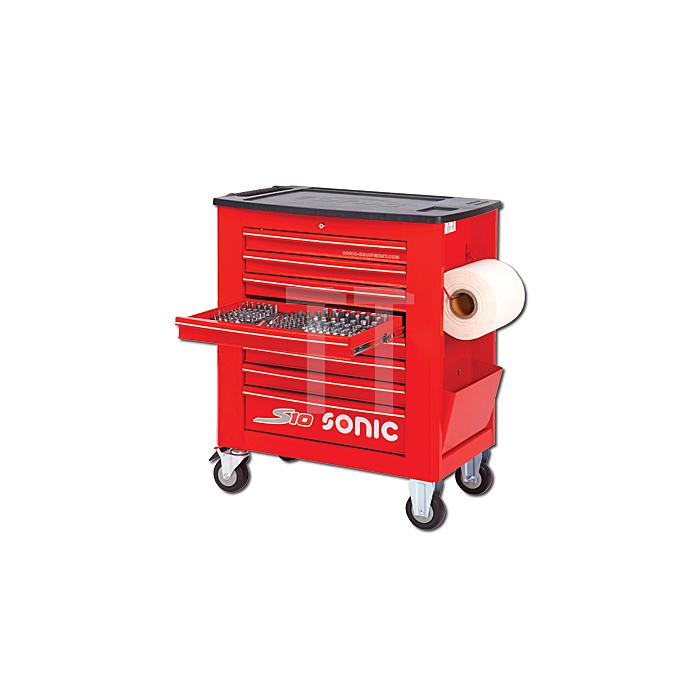Sonic Werkstattwagen S10 gefüllt, 539-teilig, Schaum 1/3, rot