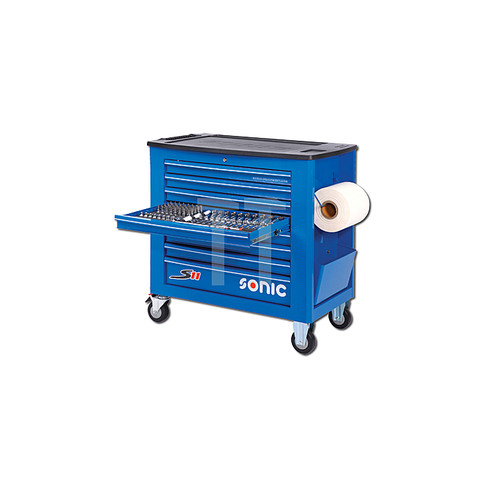 Sonic Werkstattwagen S11 gefüllt, 485-teilig, blau