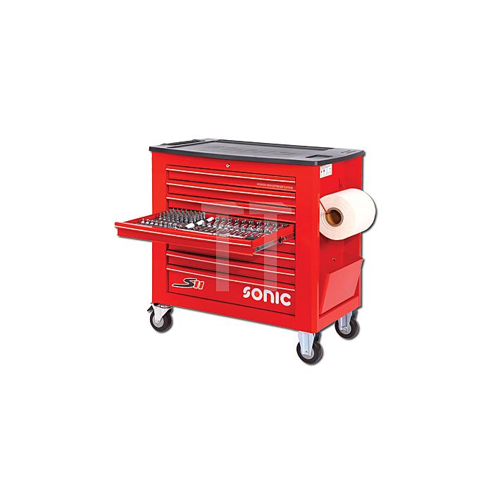 Sonic Werkstattwagen S11 gefüllt, 644-teilig, rot