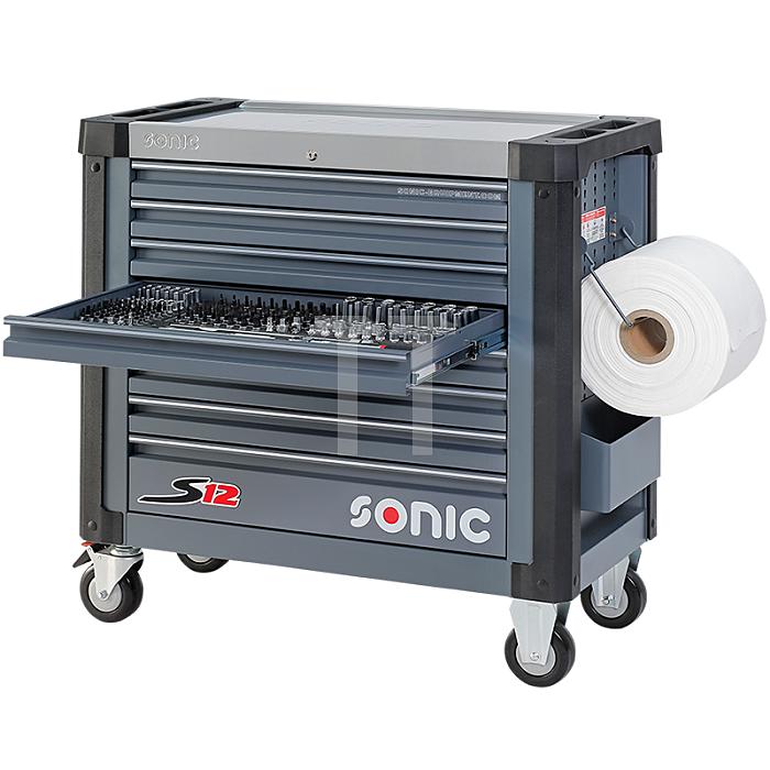 Sonic Werkstattwagen S12 gefüllt, 644-teilig, dunkelgrau