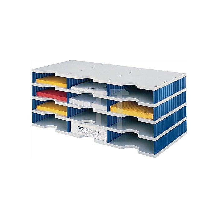 Sortierablage Trio PS grau/blau 15 Fächer Fach-H.57mm B.723xH.331mm