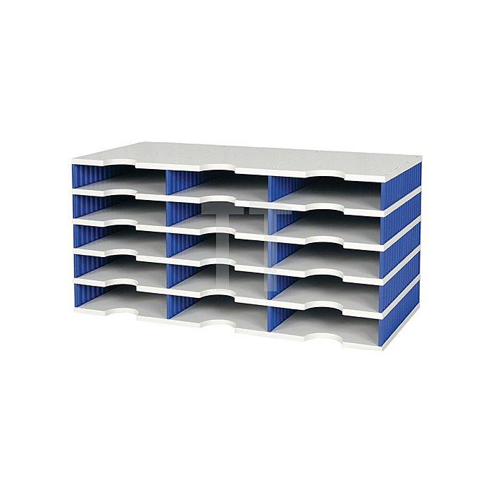 Sortierablage Trio PS grau/blau 9 Fächer Fach-H.57mm B.723xH.331mm