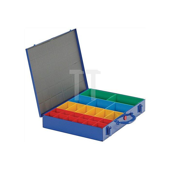 Sortimentskasten a.Blech 23lose Einsätze rot/gelb/blau/grün 440x330x66mm