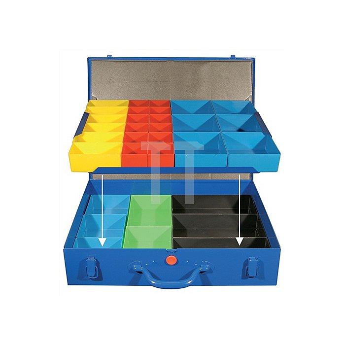 Sortimentskasten a.Blech 32lose Einsätze rot/gelb/blau/grün/sw 440x330x95mm
